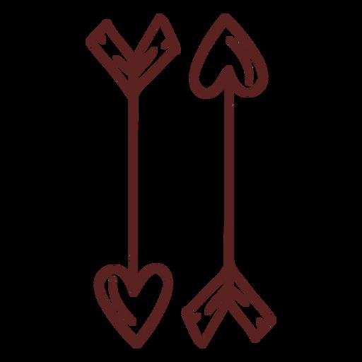 Dibujado a mano trazo de flechas de corazón
