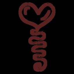 Golpe de globo de corazón dibujado a mano