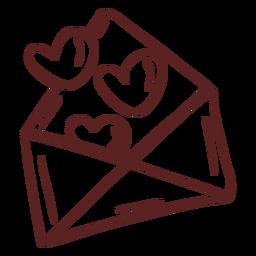 Trazo de sobre corazón dibujado a mano