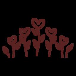 Mão desenhada coração plantas ornamento traço