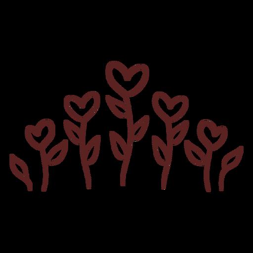 Hand drawn heart plants ornament stroke Transparent PNG
