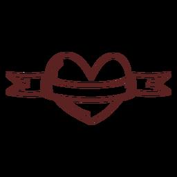 Traçado de fita de coração desenhado de mão