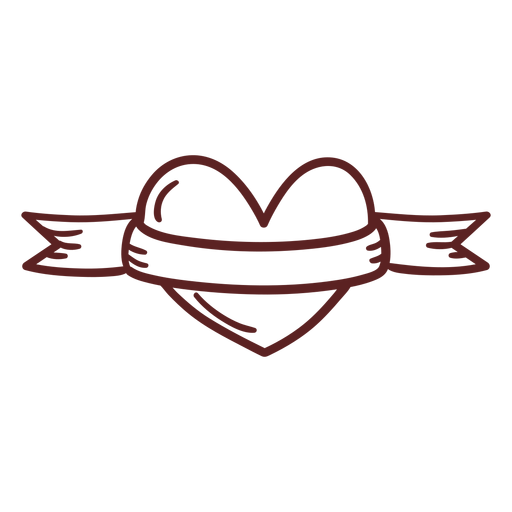 Hand drawn heart ribbon stroke