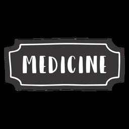 Etiqueta de medicina dibujada a mano