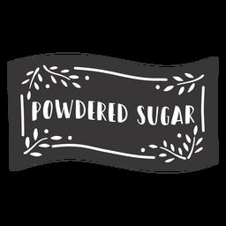 Hand drawn powdered sugar label