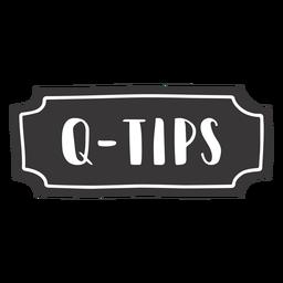 Etiqueta q tips dibujada a mano