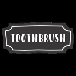 Etiqueta de cepillo de dientes dibujados a mano