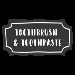 Etiqueta de pasta de dientes cepillo de dientes dibujado a mano