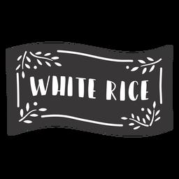 Hand drawn white rice label