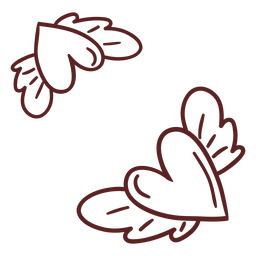 Corazones alados dibujados a mano