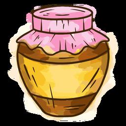Miel en tarro de acuarela