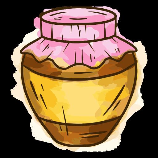 Honey in jar watercolor