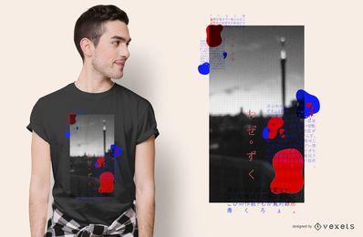 Diseño de camiseta de ciudad abstracta creativa