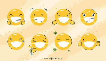 Gesichtsmaske Emojis gesetzt