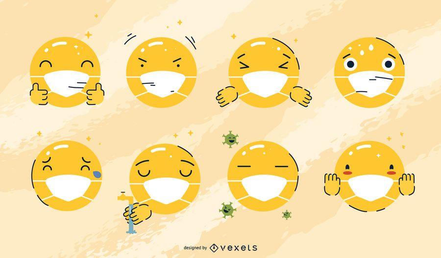 Conjunto de emojis de máscara facial