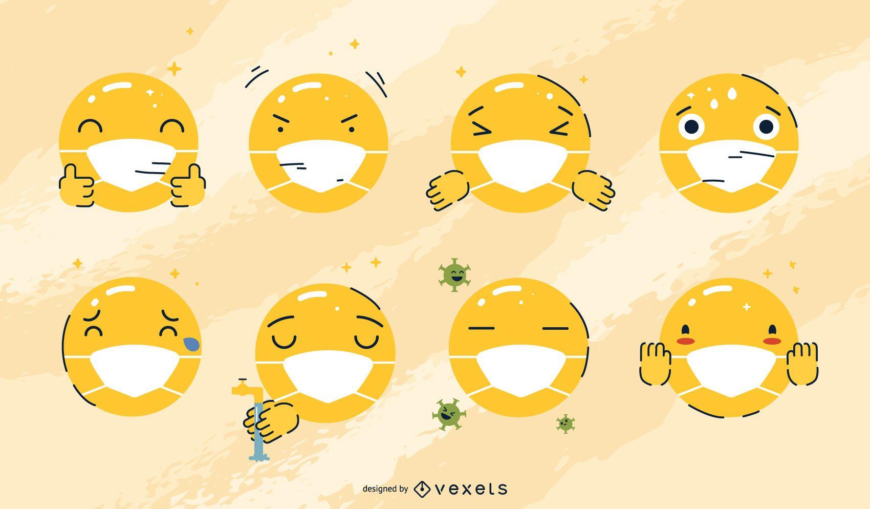Face mask emojis set