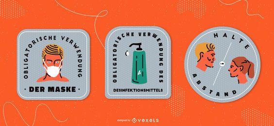 Covid sinais conjunto de distintivo alemão