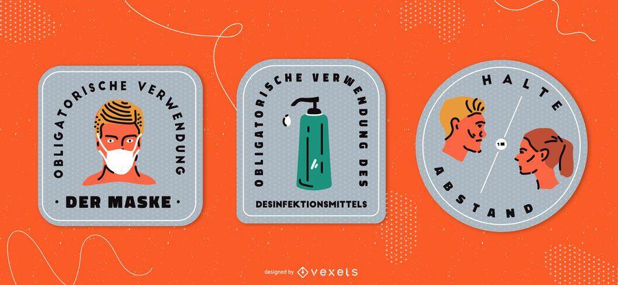 Covid signals german badge set