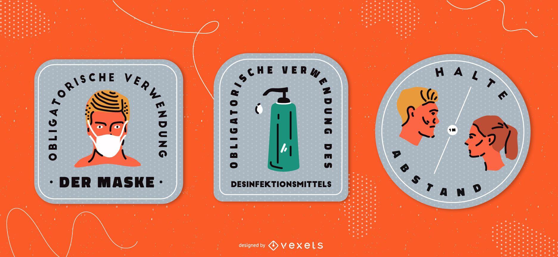 Covid señales conjunto de placas alemanas