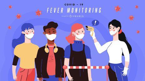Bandeira de monitoramento da febre Covid-19
