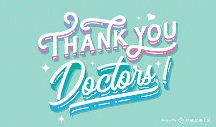 Gracias médicos diseño de letras