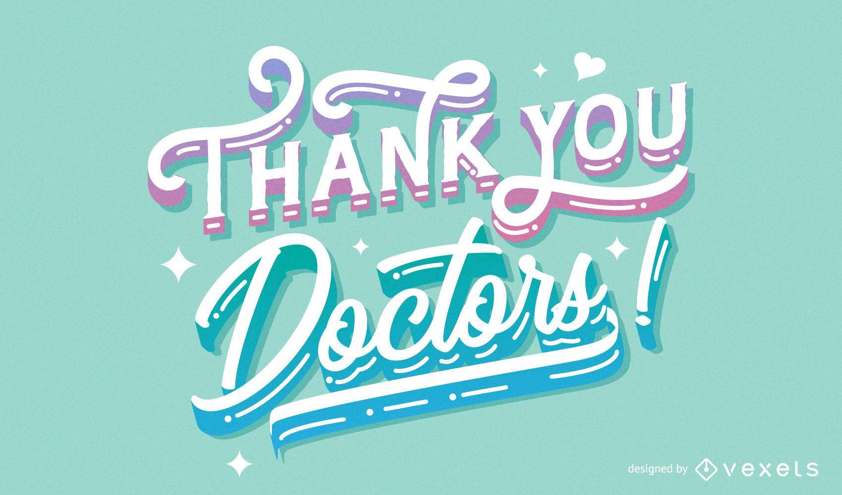 Obrigado doutores desenho de letras
