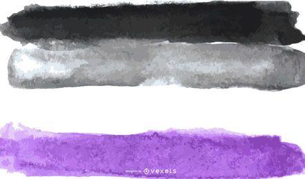 Aguarela de bandeira do orgulho assexuada