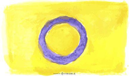 Aquarela da bandeira do orgulho intersexo