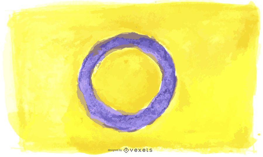 Aguarela da bandeira do orgulho de Intersex