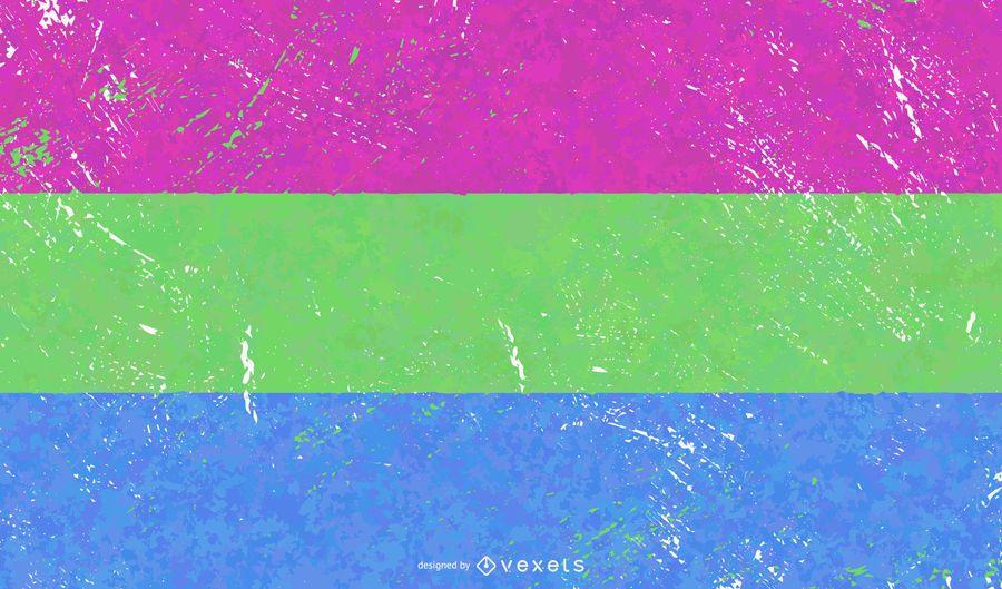 Polysexual pride flag grunge