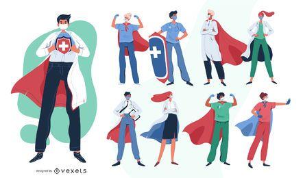Pacote de personagens dos heróis dos médicos