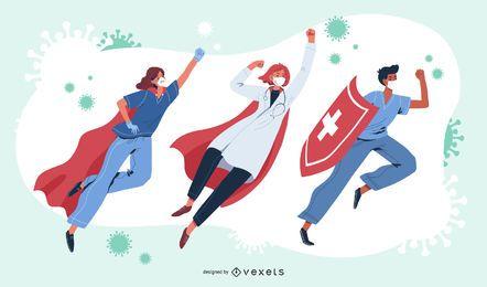 Conjunto de caracteres super médicos