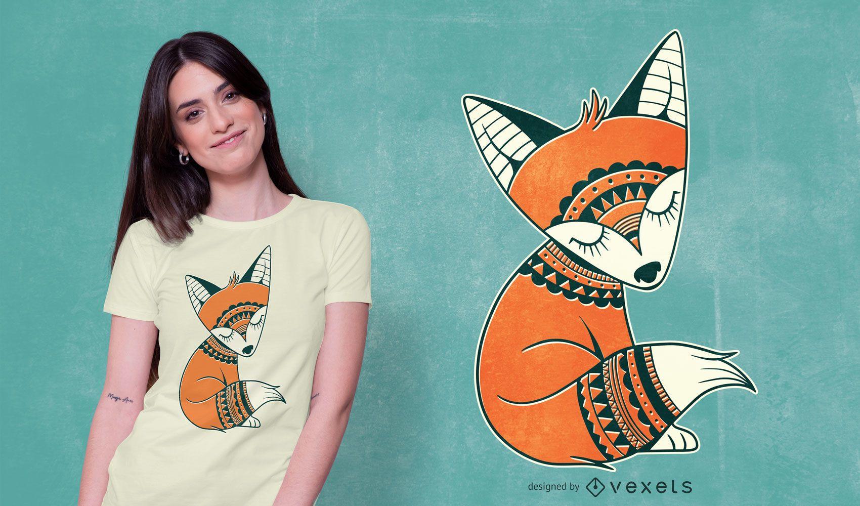Cute Tribal Fox T-shirt Design