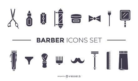 barber elements black icon set
