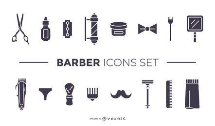 conjunto de iconos negro de elementos de barbero