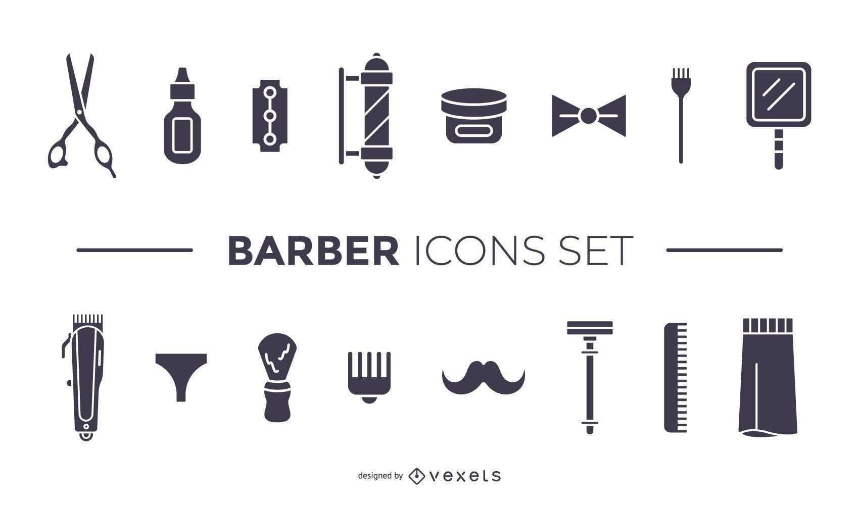 barber elements black icon set