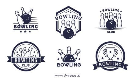 conjunto de emblemas do clube de boliche