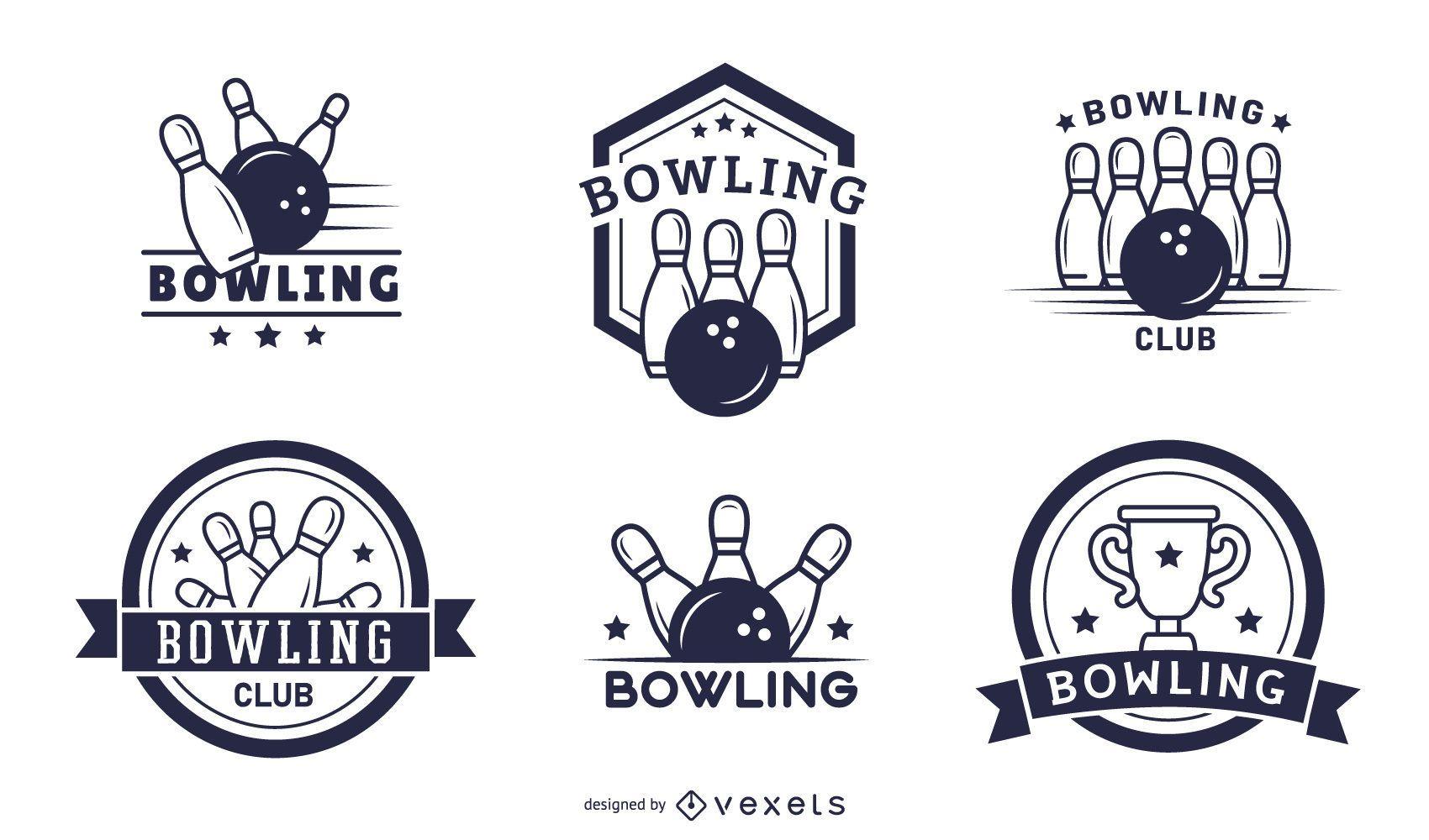 bowling club badges set