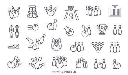 conjunto de ícones de traço de boliche