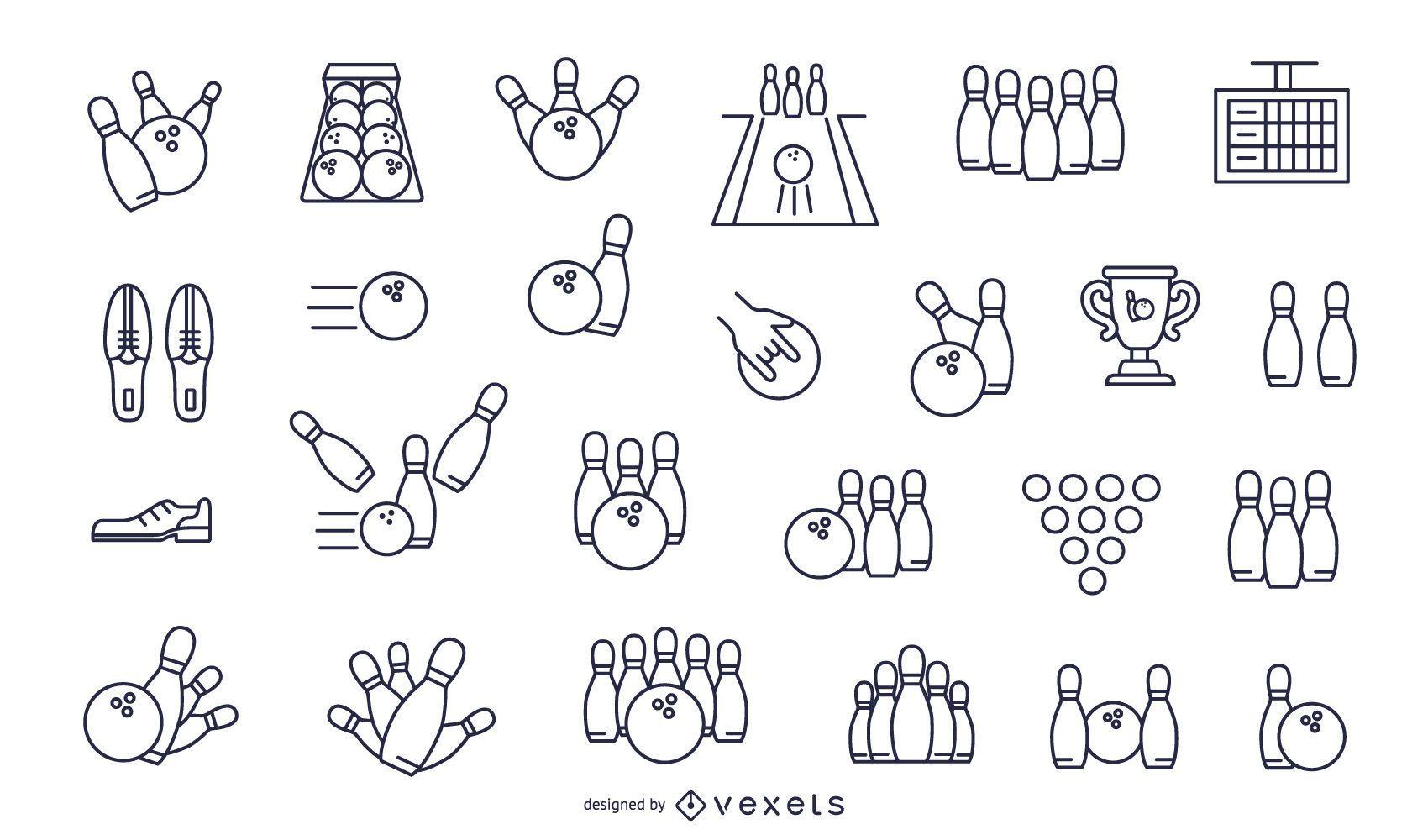 conjunto de iconos de trazo de bolos