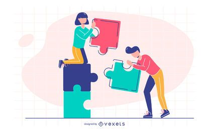connecting puzzle illustration design