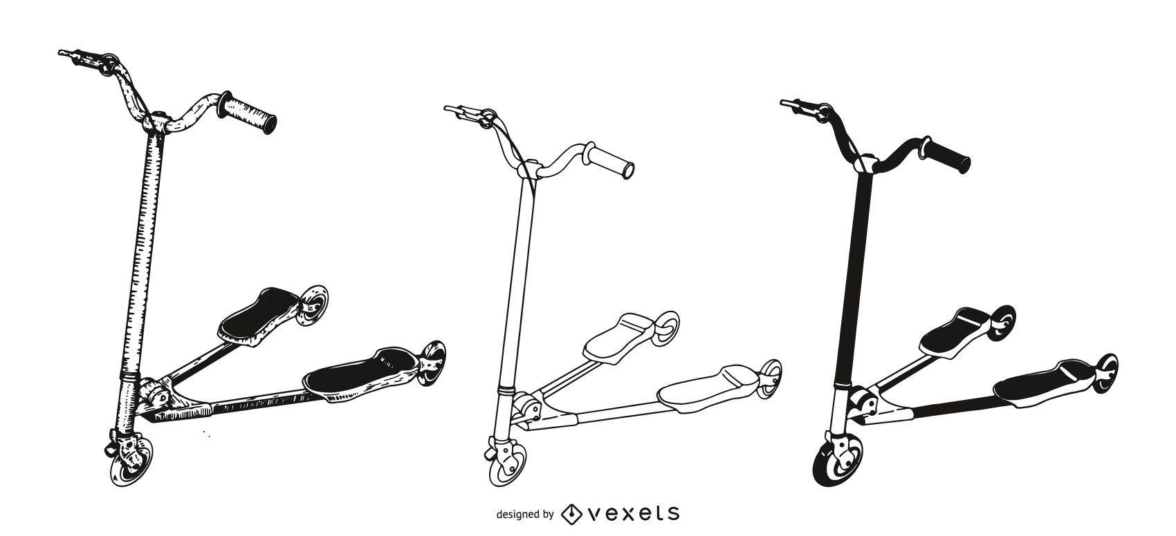 Ilustración de conjunto de tri-scooters