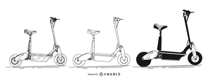 electric scooter set illustration