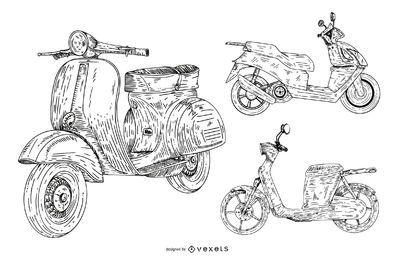 conjunto de coleta de scooter desenhado à mão