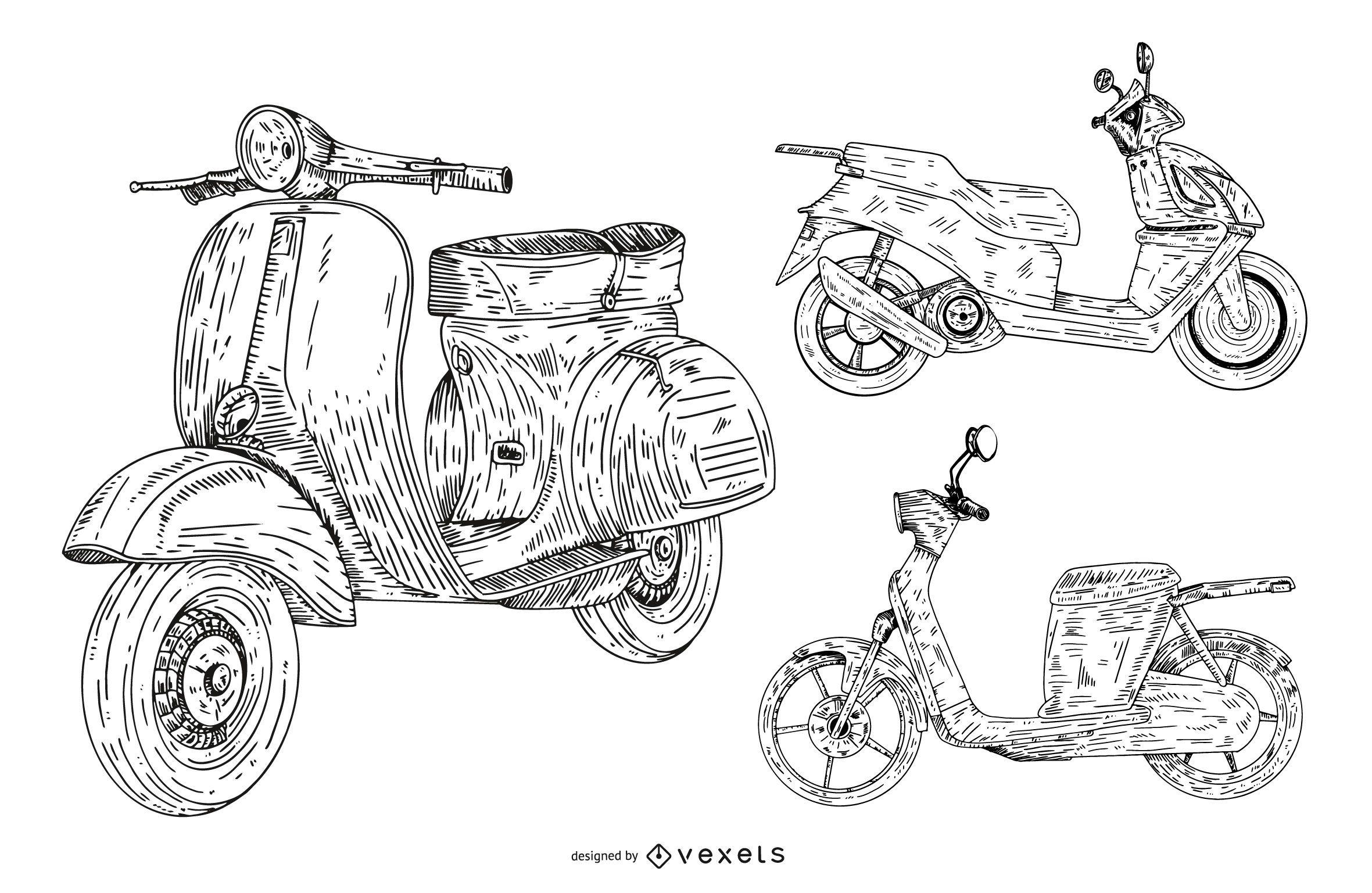 conjunto de coleta de scooter desenhado ? m?o