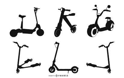 Pacote de design de silhueta de scooter