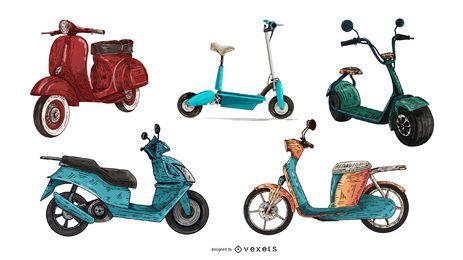 conjunto de scooter de color dibujado a mano