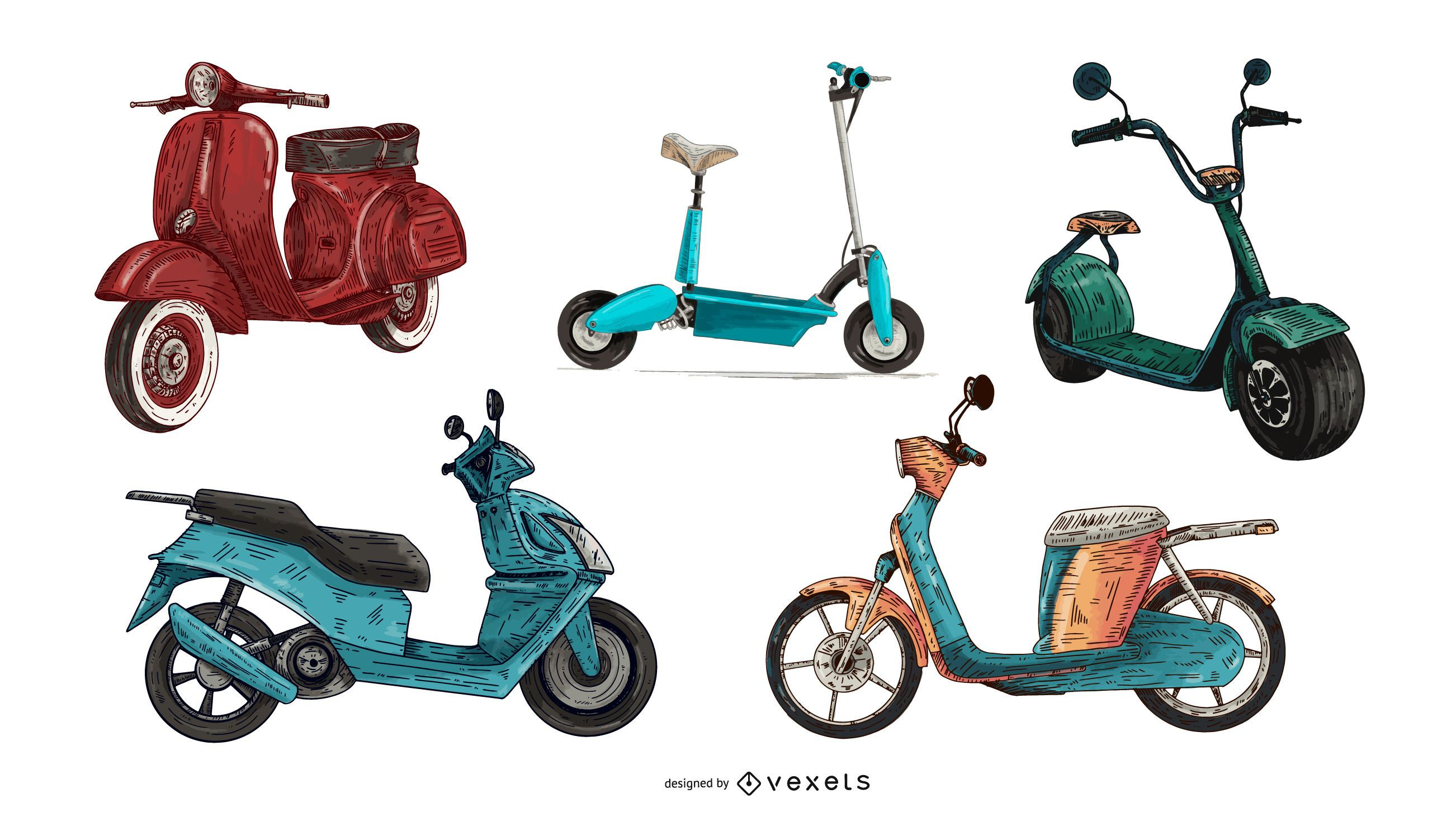 hand drawn color scooter set