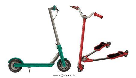 Conjunto de scooter de patada de color