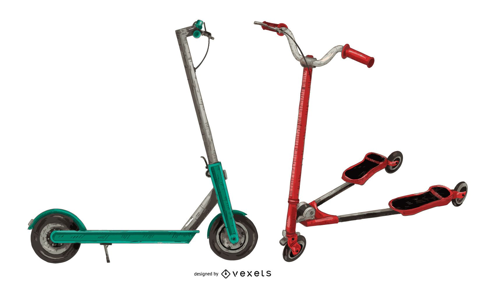 Colored Kick Scooter Set